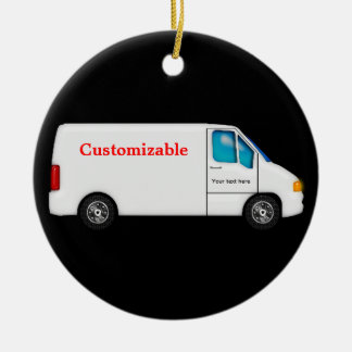 White Delivery Van - Customizable Ceramic Ornament