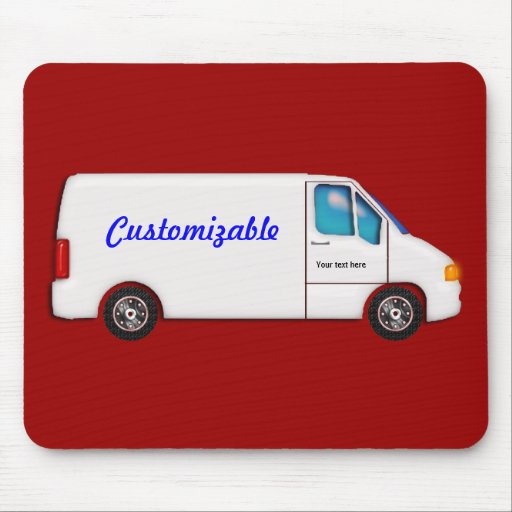 White Delivery Van - Customizable Mouse Pad