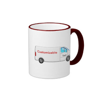 White Delivery Van - Customizable Coffee Mugs