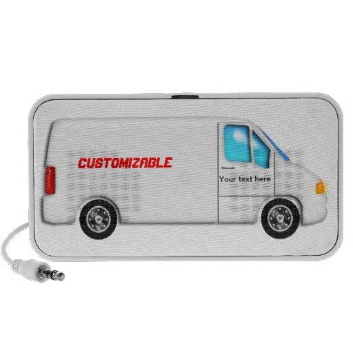 White Delivery Van - Customizable PC Speakers