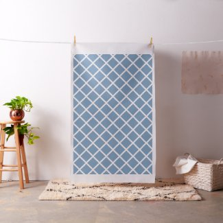 White Diagonal Lattice Stripes on Little Boy Blue Fabric