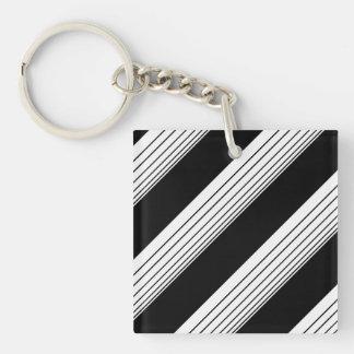 White Diagonal Stripes Keychain