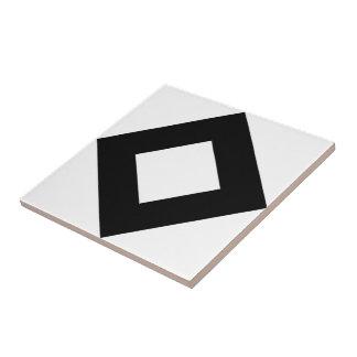 White Diamond, Bold Black Border Ceramic Tile