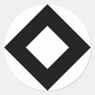 White Diamond, Bold Black Border Classic Round Sticker