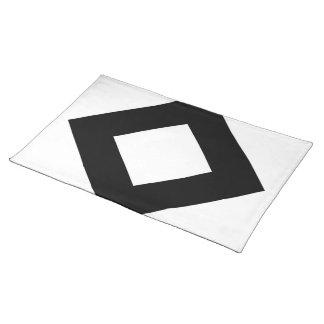White Diamond, Bold Black Border Cloth Placemat