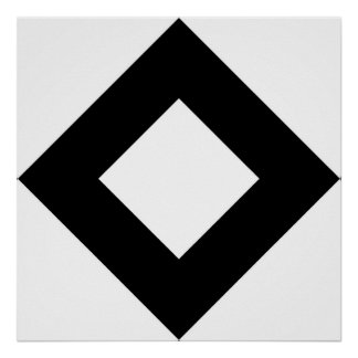 White Diamond, Bold Black Border Poster