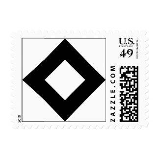White Diamond, Bold Black Border Stamps