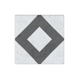 White Diamond, Bold Black Border Stone Magnet