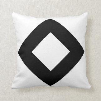 White Diamond, Bold Black Border Throw Pillow