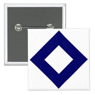 White Diamond, Bold Blue Border 2 Inch Square Button