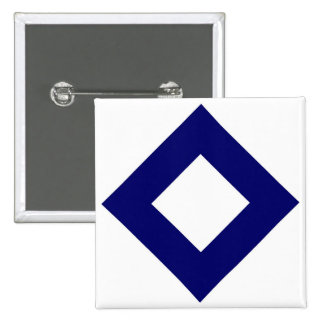 White Diamond, Bold Blue Border Pinback Button