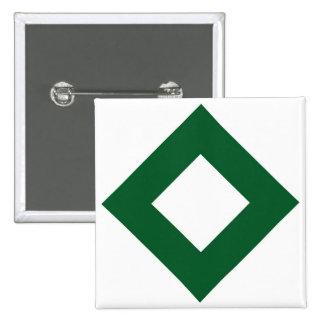 White Diamond, Bold Green Border 2 Inch Square Button