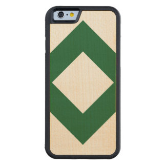 White Diamond, Bold Green Border Carved® Maple iPhone 6 Bumper