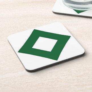 White Diamond, Bold Green Border Drink Coaster