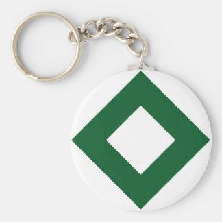 White Diamond, Bold Green Border Basic Round Button Keychain