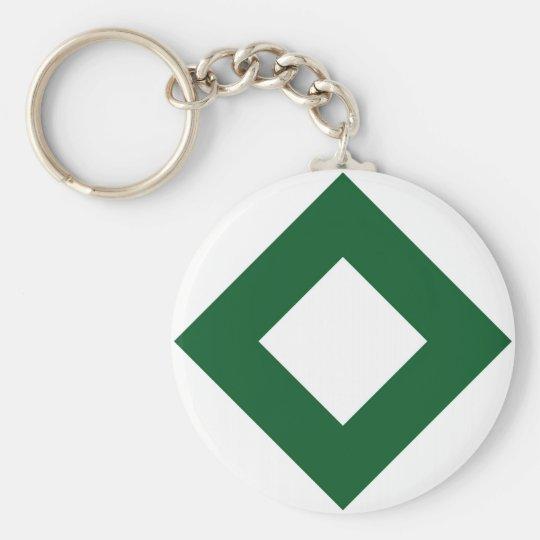 White Diamond, Bold Green Border Keychain