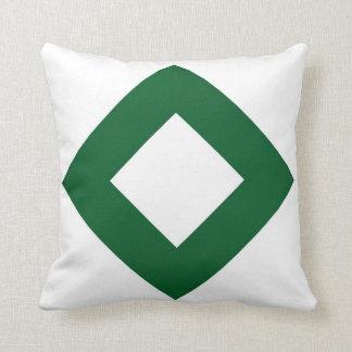 White Diamond, Bold Green Border Throw Pillow