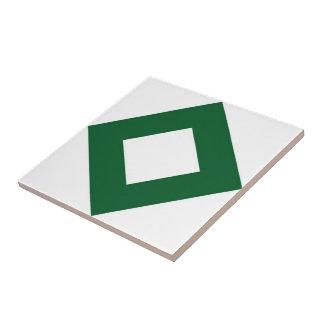 White Diamond, Bold Green Border Tile