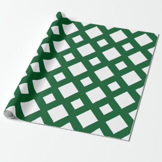 White Diamond, Bold Green Border Wrapping Paper