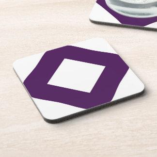 White Diamond, Bold Purple Border Beverage Coaster