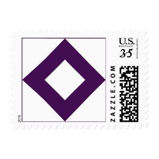White Diamond, Bold Purple Border Stamp