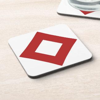 White Diamond, Bold Red Border Beverage Coaster