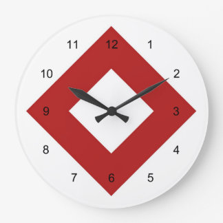 White Diamond, Bold Red Border Large Clock