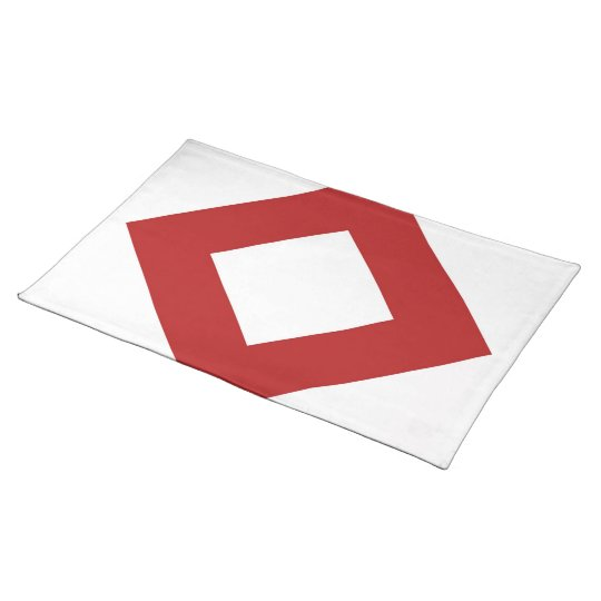 White Diamond, Bold Red Border Placemat