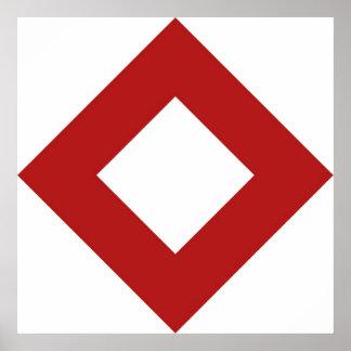 White Diamond, Bold Red Border Poster
