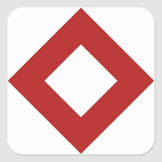 White Diamond, Bold Red Border Square Sticker
