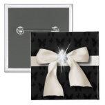 White Diamond Bow Sweet 16 Pinback Button