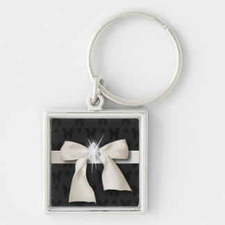White Diamond Bow Sweet 16 Silver-Colored Square Keychain