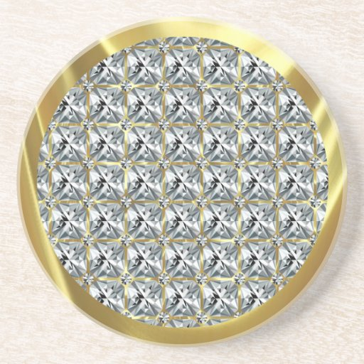 White Diamond Pattern and Gold Accent Beverage Coasters