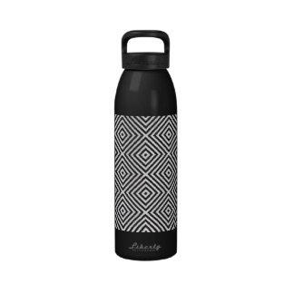 White Diamond Pattern On Black Designer Water Bottles