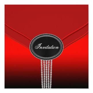 White Diamond Red Black Black Tie Party Card