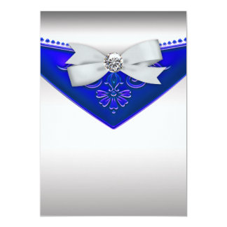 White Diamond Royal Blue Birthday Party Invitation