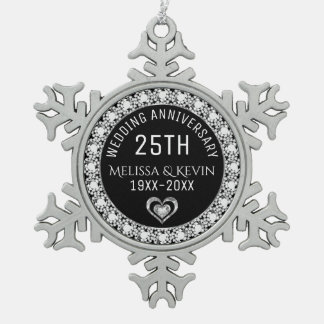 White Diamonds 25th Wedding Anniversary Template Snowflake Pewter Christmas Ornament