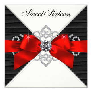 White Diamonds Black Red Sweet 16 Birthday Party Card