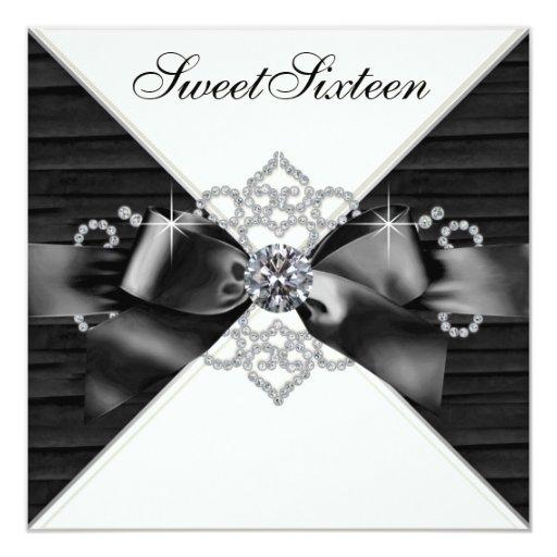 "White Diamonds Black White Sweet 16 Birthday Party 5.25"" Square Invitation Card"