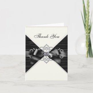 White Diamonds Black White Thank You Cards card