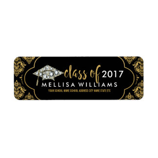 White Diamonds Class Of 2017 Black & Gold Damasks Label