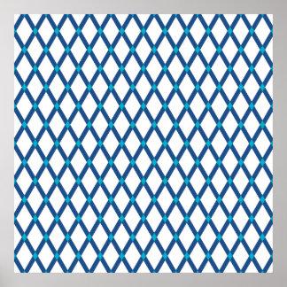 White Diamonds-Classic Blue Frames Poster