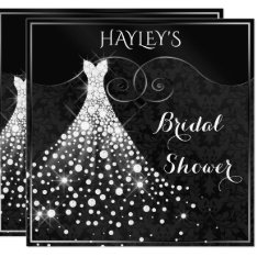 White Diamonds Gown Black Silver Bridal Shower Card at Zazzle