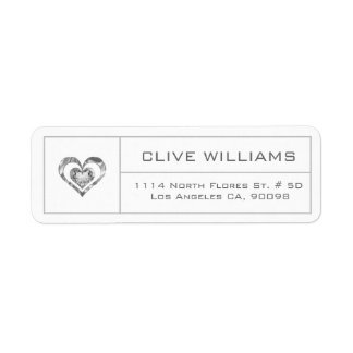 White Diamonds Heart Illustration Silver Frame Label