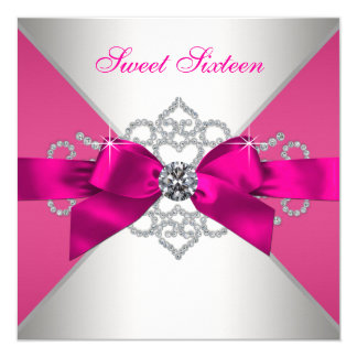 White Diamonds Hot Pink Birthday Party Card