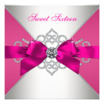 White Diamonds Hot Pink Sweet 16 Party Personalized Announcement