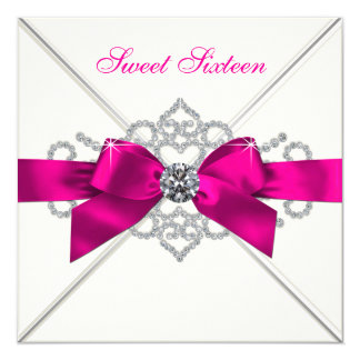White Diamonds Hot Pink Sweet 16 Party 5.25x5.25 Square Paper Invitation Card