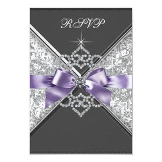 White Diamonds Lavender Purple RSVP Card
