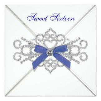 White Diamonds Navy Blue Sweet 16 Birthday Party 5.25x5.25 Square Paper Invitation Card