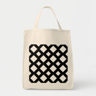 White Diamonds on Black Grocery Tote Bag